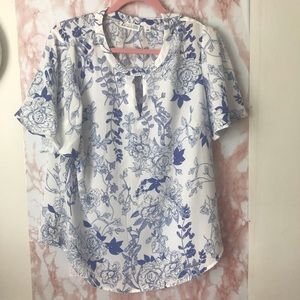 China Pattern Print Flutter Sleeve Top
